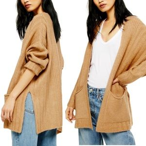 Topshop Long Cardigan in Camel